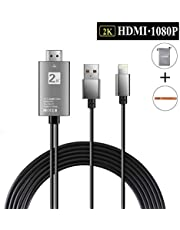 HDMI Cable Compatible with iPhone/iPad, 6.6ft iPhone to HDMI Cable, HDMI Cable Support 1080P HDTV Compatible with iPhone XS/XR/X/8/7/6/5 Series/Pad Air/Mini/Pro/Pod Touch