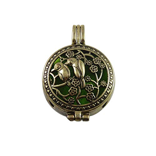 Antiqued Bronze Color Birds and Flowers Locket Essential Oil Diffuser Pendant (Type - Without Chain)