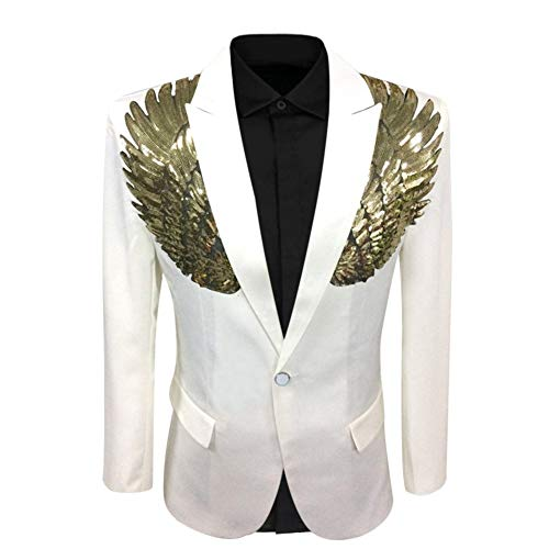 Men's Wedding Sequin Wing Stage Clothes Premium Suit Jacket Blazer Coat (XX-Large, ()
