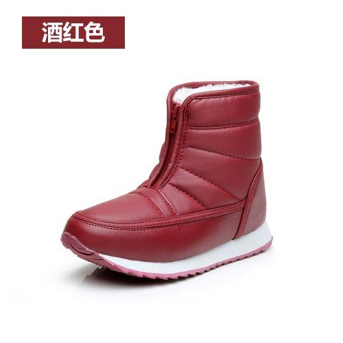 Snow Boots vecchi scarpe stivali con X cotone corto 44 base caldo madre vino SQIAO scarpe una rosso stivaletti Inverno Cilindretto piatta impermeabile di vecchi zI80xZSq