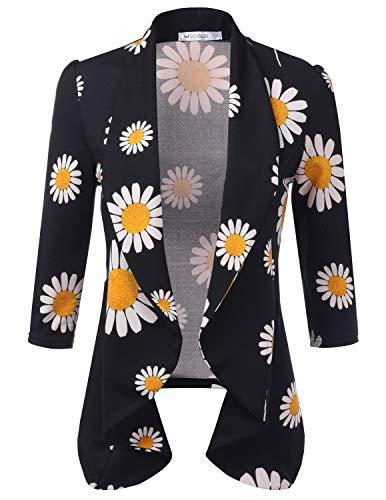 Doublju Womens Lightweight Thin 3/4 Sleeve Open Front Blazer with Plus Size