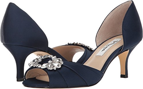 - NINA Women's Charisa New Navy Luster Satin 9 M US