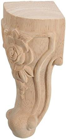 Lopbinte 4pzs 10x6cm Pata pie de muebles tallados de madera solida estilo europeo Pies del asiento del gabinete TV