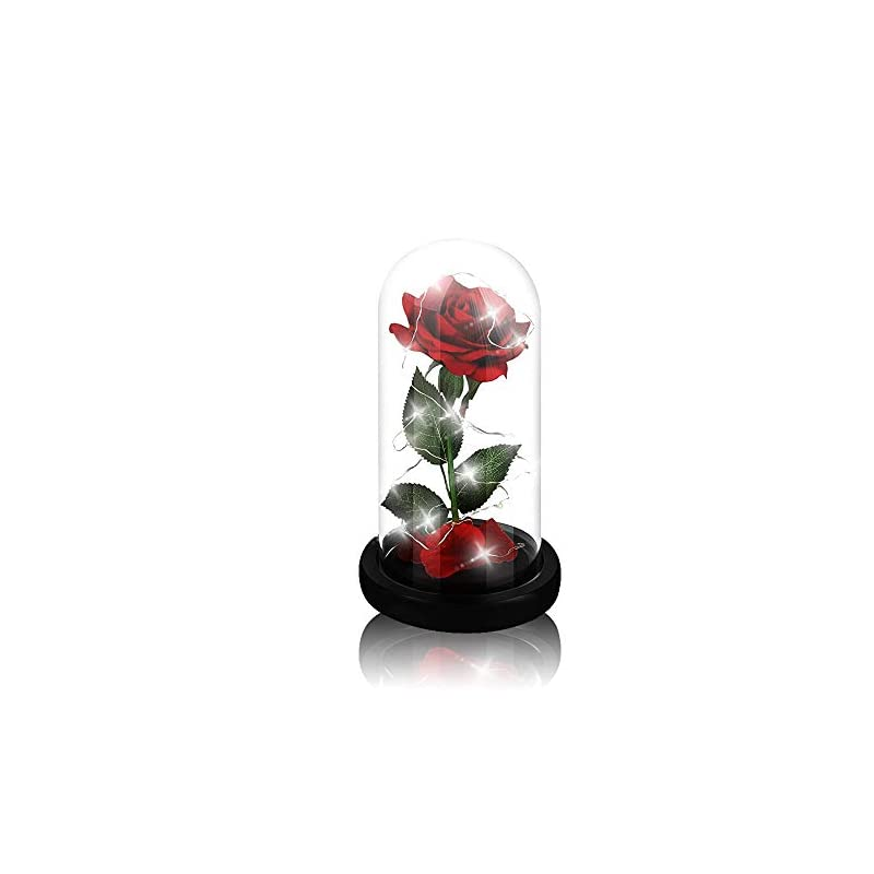 silk flower arrangements beauty and the beast rose,enchanted red silk rose and glass dome led light with fallen petals housewarming gift for valentine's day wedding anniversary mother's day party supplies