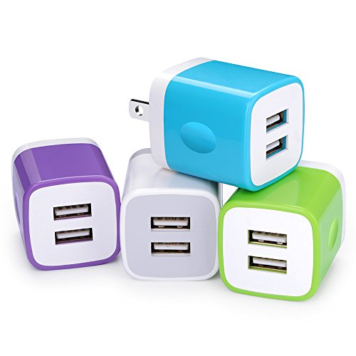 USB Wall Charger, 4-Pack Home Travel Plug USB 2.1A Dual Port Plug Charging Block Brick Compatible iPhone X/8/7 Plus/6 Plus/5S, Samsung Galaxy S10 S10e S9/S8 Plus/S7/Note 9 8, LG G8 G7 G6, HTC, Sony - Home Travel Charger Usb