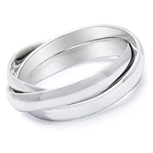 Triple band Ring (Three band ring - Russian Wedding Ring) - 3 rolling bands ring. Stainless Steel Womens Rings. Eternity Trinity / Purity Ring. Anniversary Gifts Commitment Ring I Love you Gifts (5)