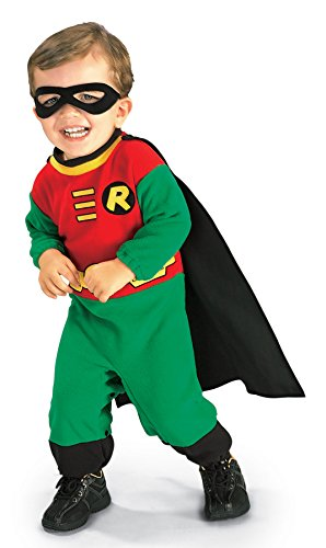 [UHC Baby Boy's Dc Comics Robin Superhero Infant Outfit Halloween Costume, 6-12M] (Marvel Super Villains Costumes)