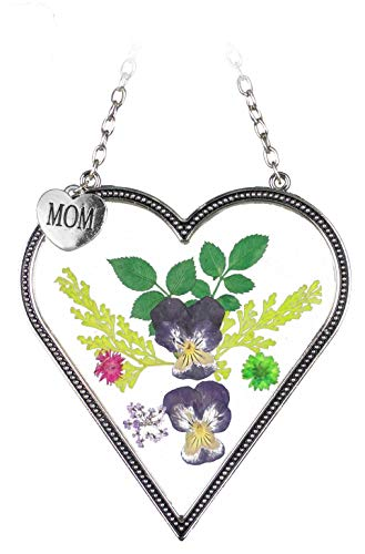 BANBERRY DESIGNS Mom Flower Sun Catcher - Mom Heart Shaped Sun Catcher Real Pressed Flowers and Silver Metal Hanging Charm