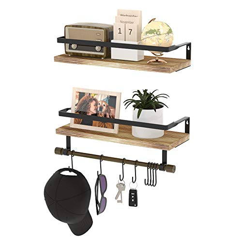 HuTools Rustic Wall Shelves Set of 2 Floating Shelves with Hooks Wall Mounted with Towel Bar for Kitchen Bathroom Living Room Bedroom Coffee Bar