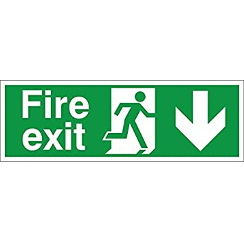 UK Safety Store Fire Exit Arrow Down Safety, 1 x Self Adhesive Vinyl Sign