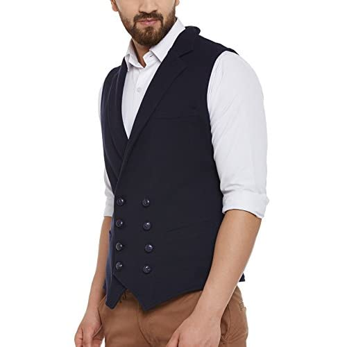 41XeHzeY7rL. SS500  - Hypernation Men's Cotton Double Breast Waistcoat (Navy Blue)