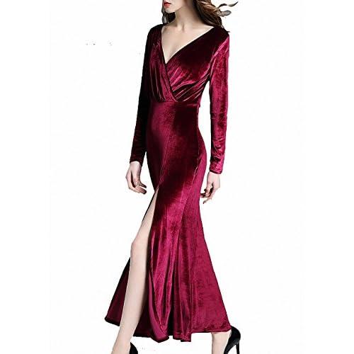 Mujeres elegante terciopelo de manga larga V Cuello fiesta cortos de noche  vestido swing largo maxi a22bacfee08e