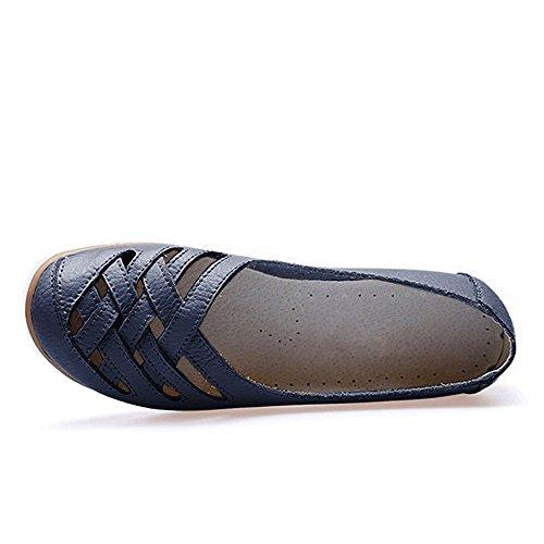 Blivener Womens Casual Loafers Holle Platte Schoenen Drijfschoenen 02darkblue