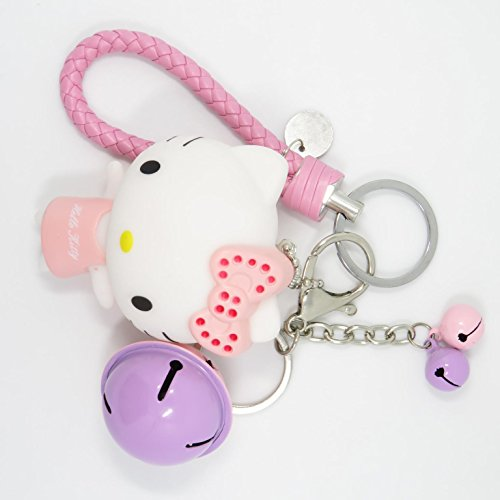 Bat King Cute 3D Cartoon Kitty Cat Key Chain Key Ring,Handbags Accessory,Portable Strip with Bell(C)