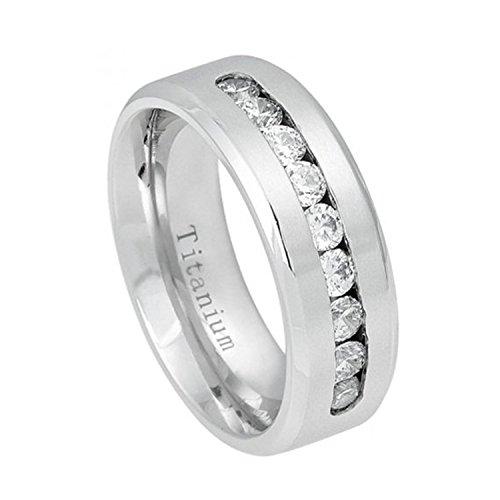 Channel Set Czs Ring (8mm Half Eternity White Titanium Ring Brushed Center Shiny Beveled Edge 9 Channel-set CZs Wedding Band)
