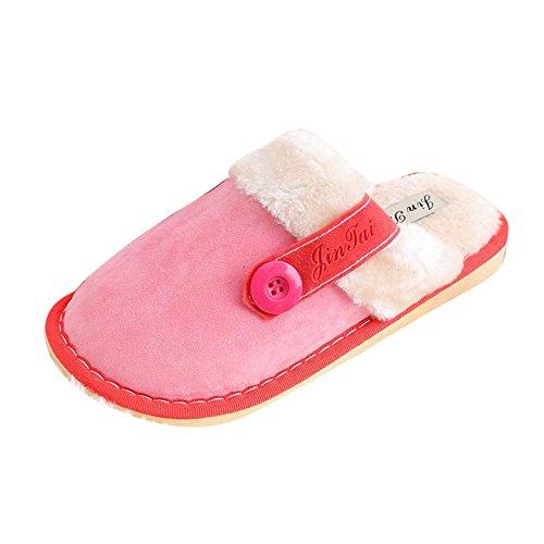 Ularma Algodón de zapatillas, Suave algodón cubierta caliente antideslizantes zapatos Rosa