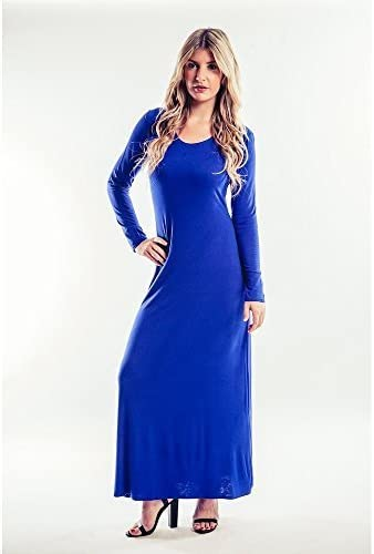 Jersey Lange Armel Maxi Kleid In Royal Blau Gr 16 Blau Blau Amazon De Bekleidung