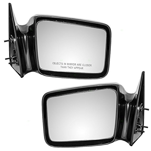 Driver and Passenger Manual Side View Mirrors 5x7 Ready-to-Paint Replacement for Dodge Pickup Truck 4354345 4354344 - Mirror Dakota Dodge 1987