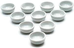 1shopforyou 10 White Cearmic Plate Dish Bowl Dollhouse Miniatures Food Kitchen