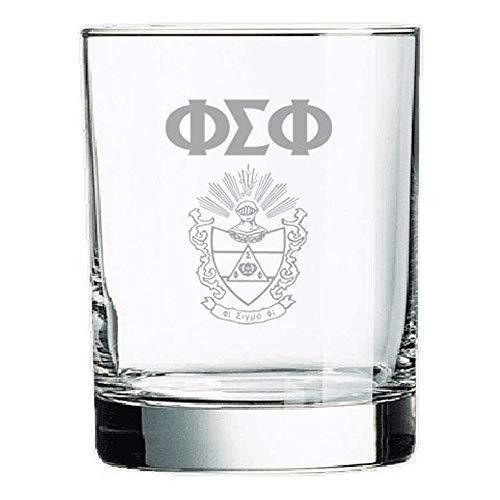 (Greekgear Phi Sigma Phi Rocks Glass White w/White Imprint Color)