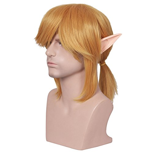 ColorGround Short Blonde Prestyled Cosplay Wig with elf ears Halloween ()