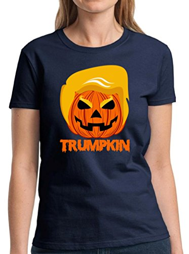 Vizor Women's Trumpkin T shirts Shirts Tops Pumpkin Trump Halloween Costume Navy (Joe Biden Halloween Costume)