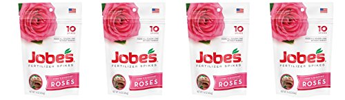 Jobes Rose KCMvjh Fertilizer Spikes 9-12-9 Time Release Fertilizer for All Flowering Shrubs, 10 Count (Pack of 4)
