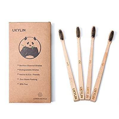 UKYLIN Bamboo Charcoal Toothbrush Environmental Toothbrush Compact Bristles & 100% Eco-Friendly - BPA Free with Recycled Packaging Wooden Toothbrush(4 Pack)