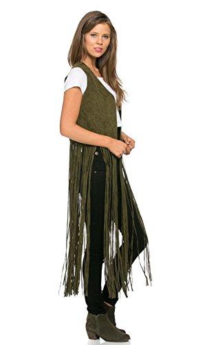 - Ultra Fringe Suede Maxi Vest in Olive