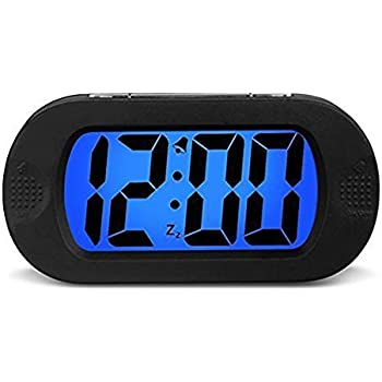 HENSE Large LCD Display Digital Smart Light Alarm ClockSnooze Nightlight Backlight Sensor Travel Home Bedside ClockBattery OperatedShockproof