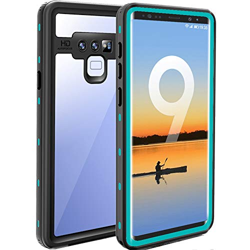 Samsung Galaxy Note 9 Waterproof Case, Built-in Screen Full-Body Protector Shockproof Snowproof Dirtproof IP68 Certified Waterproof Case for Samsung Galaxy Note 9 - Clear&Teal