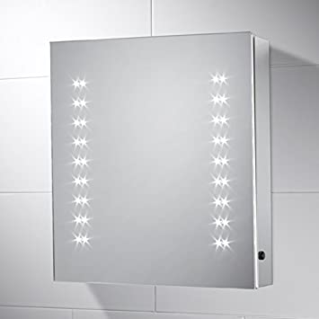 Amber Bathroom Cabinet Mirror With Lights 450mmW X 500mmH Aluminium