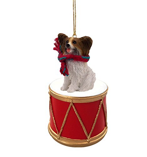 Conversation-Concepts-Papillon-Brown-Dog-Sits-on-a-Drum-Christmas-Ornament-wGold-String-Scarf-DRD47A