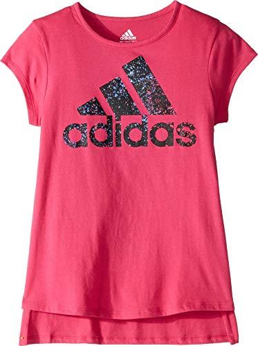 (adidas Girl Little Short Sleeve Graphic Tee T-Shirt, Badge of Sport Magenta, 5)