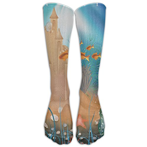 World Traveller Costume (Fairy Sand Castle Underwater Dream World Athletic Tube Stockings Women's Men's Classics Knee High Socks Sport Long Sock One Size)