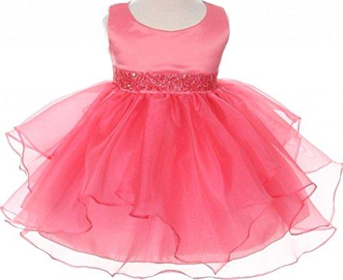(AkiDress Simple Satin Round Neck Sleeveless Organza Layered Baby Dress Coral S - XXXL)