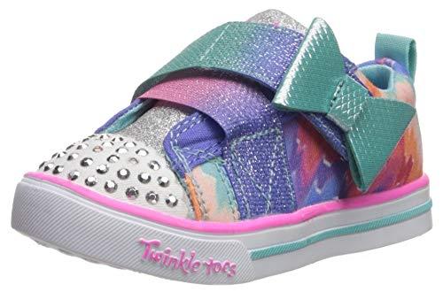 Skechers Kids Girls' Sparkle LIT-Rainbow Cutie Sneaker, Blue/Multi, 9 Medium US Toddler (Skechers Girl Shoes Light Up)