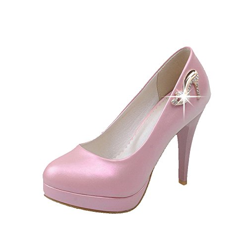 AllhqFashion Mujeres Sólido Sin cordones Tacón de aguja De salón con Diamante de Imitación Rosa