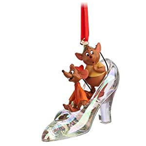 Disney Store Cinderella Glass Slipper with Jaq and Gus Sketchbook Ornament Figurine