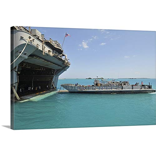 Gallery-Wrapped Canvas Entitled A Landing Craft Utility approaches The Well Deck of USS Essex by Stocktrek Images 48