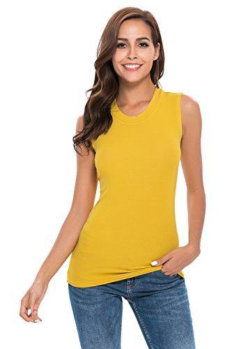 Women Sleeveless High Mock Neck Pullover Plain Slim Fit T Shirt Tank Top Crew Neck Ginger Yellow,X-Large