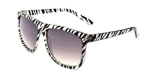 Dollhouse Women's Square Sunglasses, Crystal Zebra Print Frame, APG Smoke Lens, - Dollhouse Sunglasses