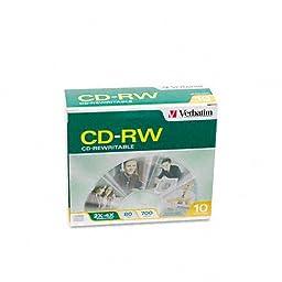 Verbatim : CD-RW Discs, 700MB/80min, 2x-4x, Slim Jewel Cases, Matte Silver, 10/Pack -:- Sold as 2 Packs of - 10 - / - Total of 20 Each