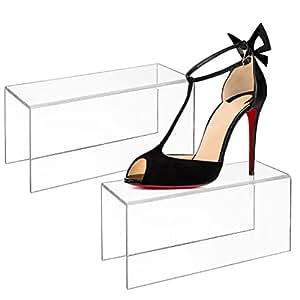 Elevador de acrílico pantalla de alta talón zapato de stands, al por menor estante, juego de 2