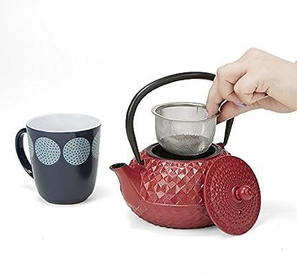 Cast Iron 27 oz Fully Enameled Interior Mind Reader TET27-RED Tea Pot Red Tea Kettle with Stainless Steel Infuser Tetsubin Tea Pot Holder