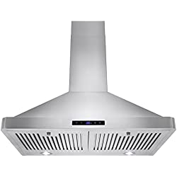 "Golden Vantage 30"" Wall Mount LED Display Touch Control High Quality Stainless Steel Vent Range Hood w/ Baffle Filters"
