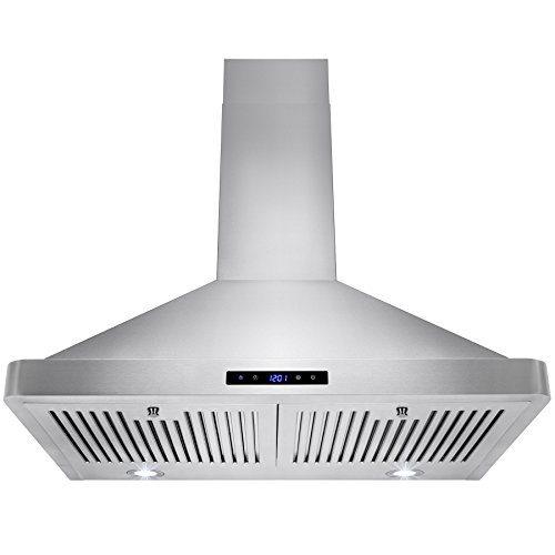 "Golden Vantage 30"" Wall Mount LED Display Touch Control High Quality Stainless Steel/Tempered Glass Vent Ductless/Ducted Range Hood w/ Multi Layer Aluminum Mesh Grease Filter (30"" Stainless Steel)"