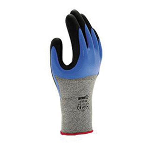 SHOWA S-Tex376 Cut and Liquid-Resistant 3/4 Nitrile Coated Glove with Hagane Coil Technology (Pack of 12 Pair)