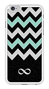 Turquoise and Black Chevron Zig Zag Infinity Symbol Snap-On Cover Hard Plastic Case for iPhone 6 (White)