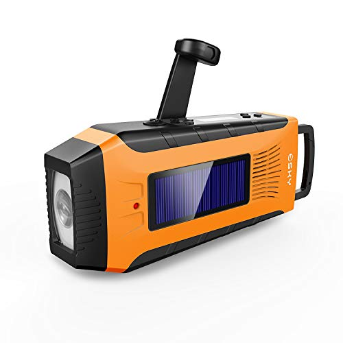 Emergency Radios, Esky Hand Crank Radio Weather Radios Solar Self Powered AM/FM/NOAA Radio with 2000mAh Rechargeable Battery, 3W Flashlight and Loudly Alarm (Orange)